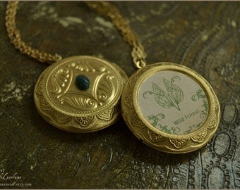 Wild Forest natural solid perfume locket pendant with chain-  beeswax and essential oils - aromatherapy