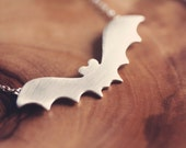 Halloween jewelry - Bat necklace - Halloween necklace -  sterling silver - PeculiarForest