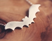 Halloween jewelry - Bat necklace - Halloween necklace -  sterling silver