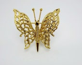 Monet Filigree Butterfly Brooch Pin/Figural Jewelry/Insect Jewelry/Costume Jewelry