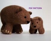 Knitting Pattern Grizzly Bear Stuffed Animal
