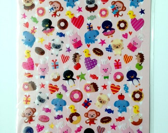 Animals Sticker, animal, Cute sticker, Kawaii Sticker from Japan, card decoration, elephant, pig, decoration, doll, seal, decor, pink, candy