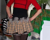 Upcycled  Burberry style/inspired  Plaid Scotty dog Mini skirt with gigante bows y petticoat *Not actual Burburry*