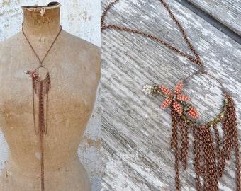 Orange blossom long necklace French beaded sautoir