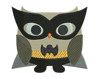 Owl Superhero Batman Halloween Machine Embroidery Design 4x4 and 5x7 Instant Download