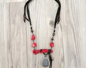 Coral Branch Necklace with Buddha Amulet and Tibetan Prayer Beads, Leather, Black and Red