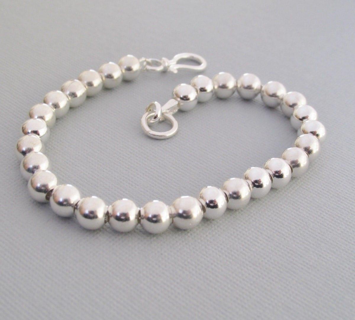 sterling silver beaded bracelet 6mm beaded bracelet classic