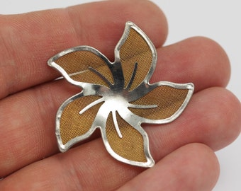 12 Brass And Silver Color Wire Flower Filigree , Findings , 38 Mm  D129--C055