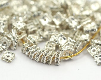 24 Crystal Square Swarovski Rondelle Beads 5 Mm Spacer Beads