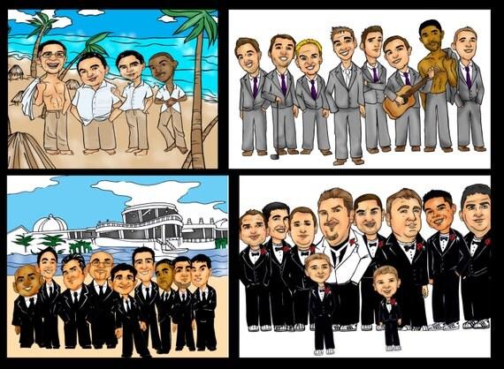 groomsmen caricatures