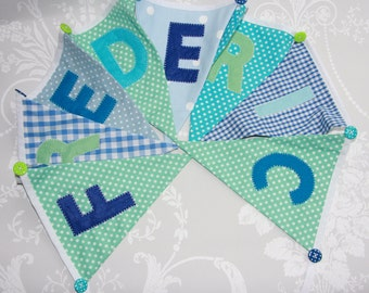 Seaside Blues Banner Bunting Handmade Fabric ideal for a Birthday Party or Celebration or Photo prop Custom Made to order