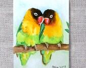 sale ooak original ACEO painting- Love Birds Watercolor Painting- buy 3 get 1 free