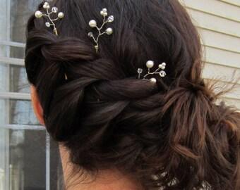 Pearl Bobby Pins, Bridal Hair Accessories, Bridal Hair Pins, Flower Girl Hair Pins, Pearl Hair Pins, Bridal Hair Clips, Branch, Vine, Floral