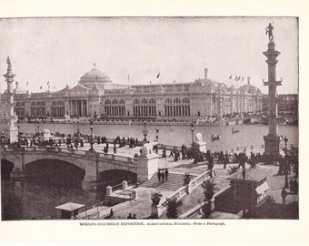 1901 American History Print - World Columbian Exposition Chicago - Vintage Antique Art Print American History for Framing 100 Years Old