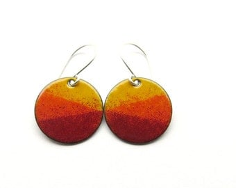 Orange and Red Dangle Earrings, Enamel Jewelry, Copper and Sterling Silver - Sunset