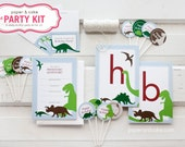 The PARTY KIT - DINOSAUR Complete ready-to-use Birthday Party Kit for 12: Invitations, Banner, Favor Bag Toppers, Cupcake Picks & Straws