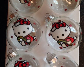 Hello Kitty Glass Ornaments