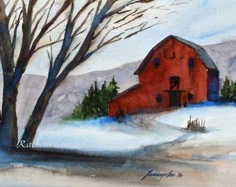 barn painting landscape painting barn Art PRINT barn PRINT red home decor christmas decoration watercolor Painting folk wall art 5x7 red art