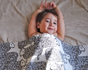 Modern Baby Blanket - ORGANIC Eco Friendly Baby Bedding - Black and White Sheep by SewnNatural