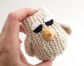 Owl Toy. Small Cream Sleepy Owlet.