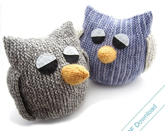 Knitting Pattern for Big Owl. Stuffed Toy or Pajama Case