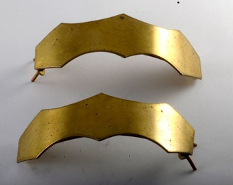 Vintage Hair Barrettes Pair Brass Metal Pointed Curve Hair Accessorie
