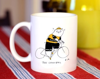 Bike Cat Mug - Eddy Merckx - The Cannibal - Tour de France - Gift for Cat Dad and Bike Lover