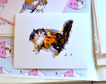 Calico Cat Cards- Set of 4- Cat Stationery Set- Cat Gift