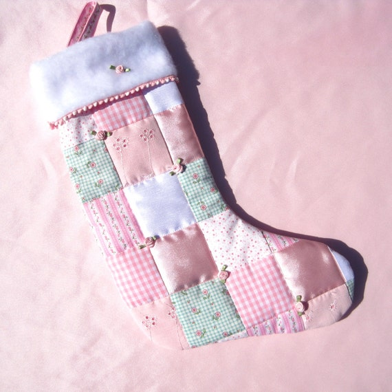 Pink rosebuds baby girl christmas stocking by hobbymakers on etsy