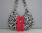 Small Shouder Bag - Handmade Handbag in black and white leopard print with coral pink ruffle embellishment