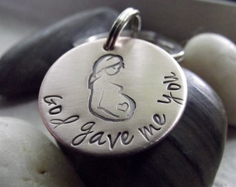 God gave me you, Mom to be, copper keychain