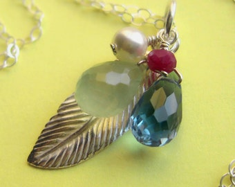 Birds of a Feather -- Sterling Silver and Gemstone Cluster Necklace