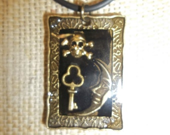 Dainty Steampunk Mini Bronze Key & Skull Necklace Neo Victorian Airship Pirate Resin Collage Pendant