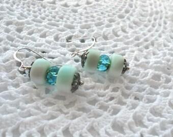 Marble Rondelles, Aqua Blue Cream, San Simeon Beach,  Beach Earrings, Aqua Blue Earrings
