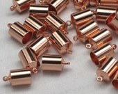 6mm Copper End Caps, Barrel Cord Ends, Copper Plated Brass, Caps For Leather Cords, Braids and Kumihimo Weaves, Glue In Style