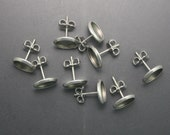 316 Stainless Steel Earring Finding with Bezel Setting, 10 Pairs