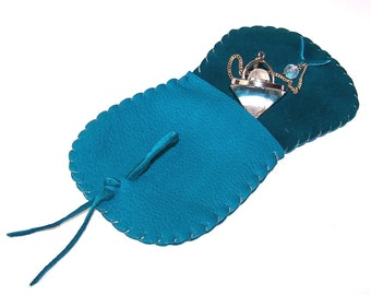 Leather Pendulum Pouch..TURQUOISE... Smooth