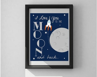 Color I Love You to the Moon and Back Print vinyl lettering wall decal