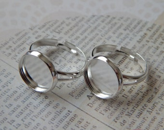 20 Silver Adjustable Ring Bezels fit 12mm Cabochon