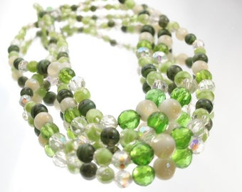 Green Beads Necklace Vintage Glass Beads Necklace 3 Strand Necklace