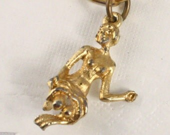 1950s Gold Tone Charm Bracelet - Wistful Vintage Goddess Maiden