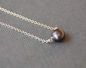 Grey Pearl Solitaire Necklace, Your Choice of Sterling or Gold Fill, Delicate Layering Necklace