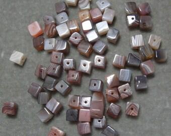 Full Strand of 6.4mm Cube Botswana Agate Gemstones (56)