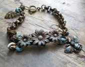 Flower Garden Charm Bracelet, Rustic Flower, Organic, Lampwork Glass, Bee Charm, Turquoise, Cream, Summer Jewelry