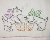 Rub a Dub Dub Two Terriers in a Tub  Dish Towel