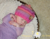 Ready to ship. RTS. Knitted baby hat. knitted baby girl hat. Wooden button. Wool and silk. Baby girl pink hat. Knitted baby photo prop.