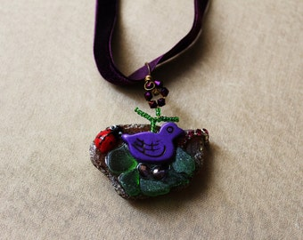 woodland sounds - pendant with purple velvet ribbon / purple bird's nest / unique sea glass jewelry / rustic woodland nature - art to wear
