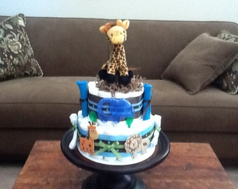 Giraffe Diaper Cake Jungle Theme Baby Shower Centerpiece or gift other colors and sizes available