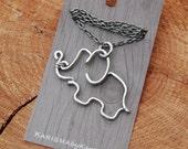 Elephant. Pendant. Necklace. Aluminum. Wire Jewelry.