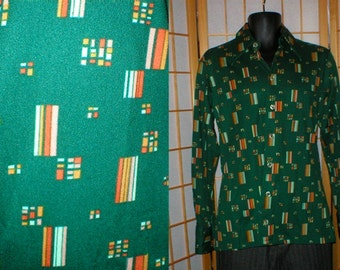 70s Givenchy designer geometric print shirt mens size medium